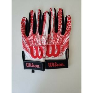 Wilson Red White Football Gloves Adults Large